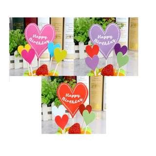 (3 for $6)Heart Happy Birthday Cake Topper