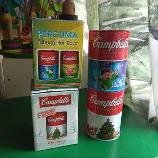 Set of 4 Campbells Soup Tin Coin Boxes