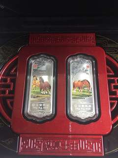 🔥Clearance🔥China lunar Horse 999 Silver Medal 20gram x 2pcs year 2014