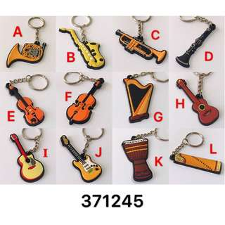 3個$27 Music instrument Keychain 12款 音樂音符樂器鎖匙扣 吊飾 clarinet ukulele guitar cello violin Harp Horn Saxophone djemble 古箏 trumpet