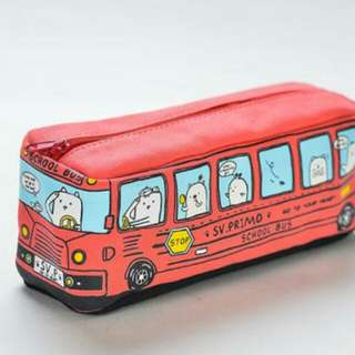 Red Toy Bus Pencil Box Case Bag Zip Zipper Store Pen Pencil Stationery School Study Student Pupil Child Boy Girl Write Learn Play Vehicle Bus Cute Cartoon Animal Red Colour