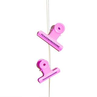 peaceminusone pink bulldog clips (brand new with package)