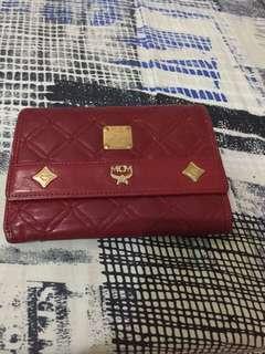 MCM Tri-fold Red Wallet