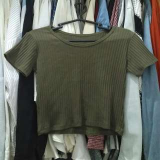 Olive green ribbed croptop