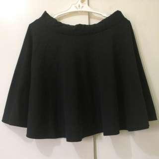 Plain Black Skater Skirt
