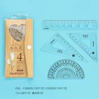 Stationery Ruler Set Wood Grain Korea Style Design Sets of ruler protractor triangles multipurpose student pupil child children learn draw write measure easy to use ruler maths mathematics mathematical measurement set