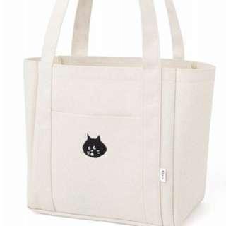 日本mook日文雜誌附錄刺繡黑貓ne-net帆布托特包單肩包購物包手提包手提袋旅行袋補習袋水杯水壺位置