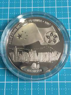 Chi🔥Clearance🔥1997 Hong Kong Return to China Commemorative Silver Proof Medallion & Hong Kong Uncirculated Coin
