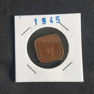 C82 1945 Malaya Emperor George VI King One Cent