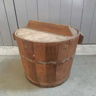 Vintage Wooden Barrel Rice Container With Cover
