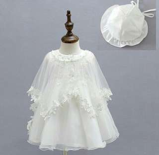 Baptismal dress with hat 0-12months