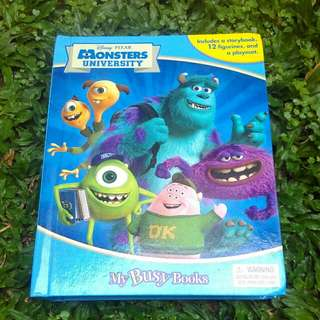 monster university story book & 12 figure and plymate