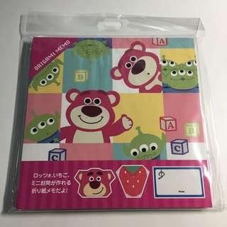 Japan Tokyo Disney Toy Story 勞蘇 三眼仔 士多啤梨 摺紙 有教學