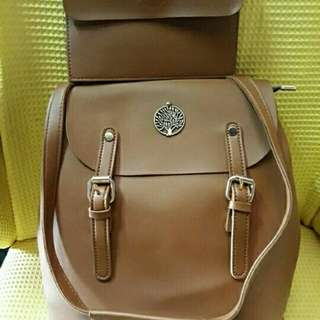 New 2-Way Leather Brown Backpack