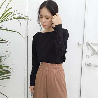 (PO) Button Long Sleeved Top