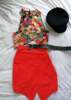 Ladakh bright pink/orange summer skirt size 10