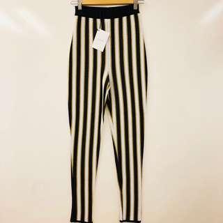 New Balmain Paris black white gold pants size 34