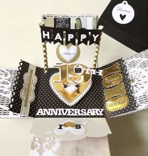 Happy 19th Anniversary Explosion Box Card in Gold And Black