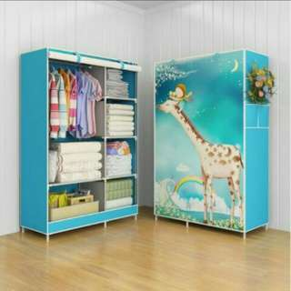 Giraffe multifunction wardrobe cooth rak with cover lemari