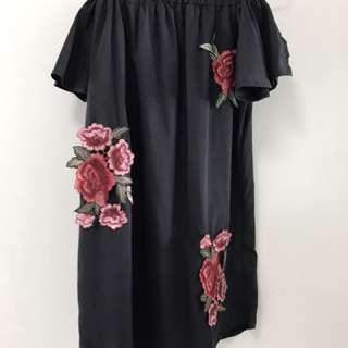 INSTOCK ROSES OFF SHOULDER DRESS
