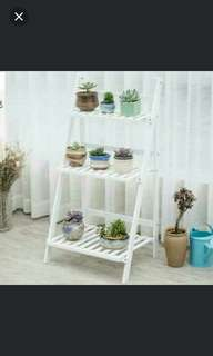 ( instock )🌷Foldable Flower Rack/Planting Rack/plant stand 🌷( Original Colour natural bamboo )( White or Blue white )
