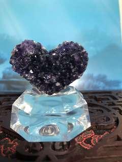 💜型紫水晶擺件連底座, 白燈光下極紫🤩🤩🤩