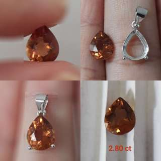 🌻Very nice Golden Imperial Topaz Faceted/pendant. With ready casing in 925 silver plated white gold.