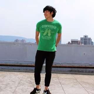 🚚 買衣送鞋 Converse /日本 古着 純棉 綠色 短T 日本帶回