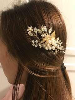 手造新娘珍珠髮飾髮梳