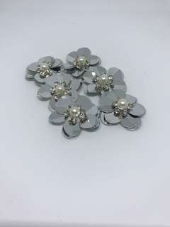 Flower Bead-3 (Silver) Pack of 6