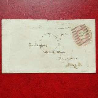 [lapyip1230] 大英帝國浮雕式郵資封 1849年 (小鎮經倫敦寄蘇格蘭格拉斯哥)
