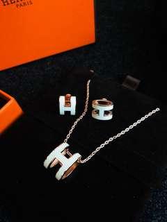 Hermes pop h necklace earrings