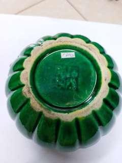 道光年款绿釉水洗