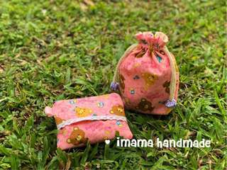 2pcs gift set- handmade drawstring pouch and tissue zipper purse