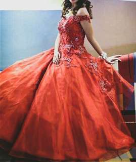 FOR SALE DEBUT / JS PROM / BALL GOWN / Layered gown / off shoulder gown /Red Gown