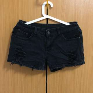 Black ripped denim shorts