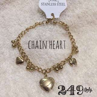 Chain Heart Gold Stainless Steel