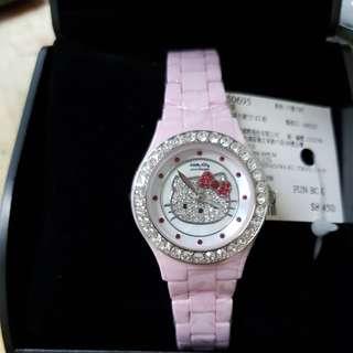 kitty 陶瓷珍珠母貝+鑽 手錶(Amonnlisa)-粉色