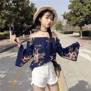 🌸[ PO ] Off Shoulder Flora Chiffon Shirt