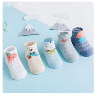 InStock - High Quality Premium Cotton Lovely Designed Socks - 0 to 3 yrs - Ocean Set = 5 pairs/designs for $10