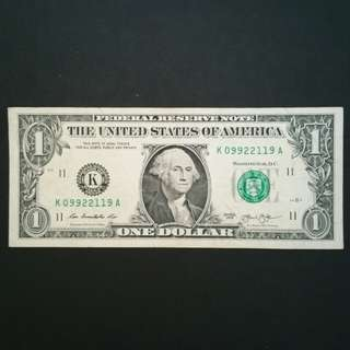 2013 USA $1 Currency Banknote