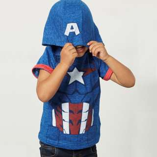 JB019 Boys Captain America Hooded Tee 2T 3T 4T 5T 6T 7T