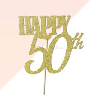 Happy 50th Birthday Gold Glitters Cake Topper