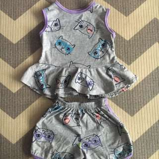 Grey cat peplum top and shorts for 2-3yrs old