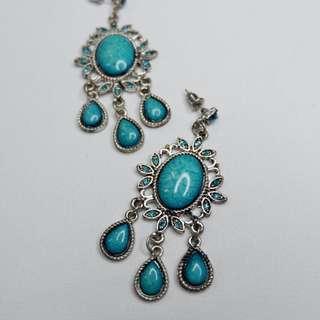 Turquoise Big Statement Earrings