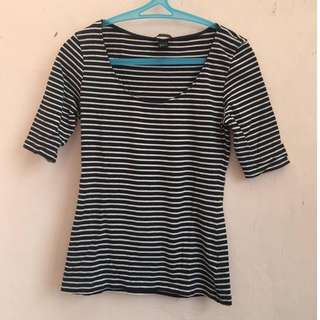 H&M Basic Womens 3/4 Sleeve T-Shirt Tops Small