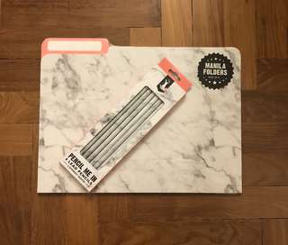 Marble print pencils and folders