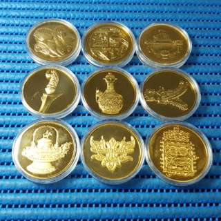 1987 Singapore Mint's National Museum Centennial 1887-1987 Commemorative 24K Gold Plated Sterling Silver Proof Medallions ( Lot of 9 Pieces )