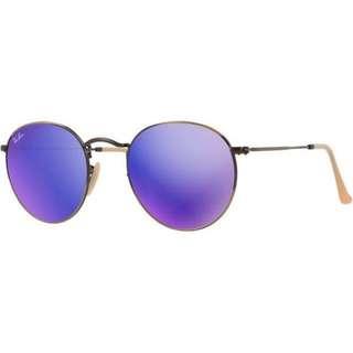 Ray-Ban Sunglasses Round Metal 3447 167/1m Bronze Copper Violet Mirror 50mm UNISEX