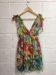 Colorful Sheer Mini Summer Dress